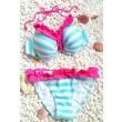 Traje de baño azul de rayas blancas atractivas del bikini del cordón