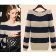New Vintage Striped Round Neck Sweater &Cardigan