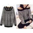 Fashion Dark Blue Off-Shoulder Halter Strapless Sweater