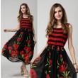 Vestido sin mangas con flores rojas de seda a rayas