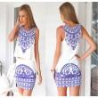 Trajes de vestido de porcelana azul y blanco retro
