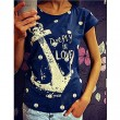 Anchors Casual Dot Love Letter Pattern Camiseta manga corta Hueco Atrás