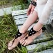 Sandalia descalza hecha a ganchillo Joyería hecha punto del pie Tobillera de la yoga