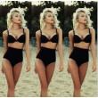 Sexy Bikinis negro corto de la parte superior traje de baño de la cintura alta traje de baño de la playa