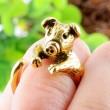 animales anillo Encantador Cerdito Dorado Apertura anillo