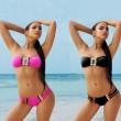 Bikini de mujer sexy traje de baño de color sólido con múltiples cuerdas