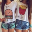 Camiseta de impresión de dibujos animados Mujer Chica Mejor amigo Blusa casual Tops