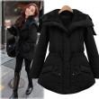 Moda negro engrosamiento delgada cintura elástica cinturón Parkas Abajo chaqueta de algodón acolchado chaqueta vestido de plumas