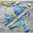 Crisantemo Impresión Vendaje Bikini Dúplex estilo Trajes de baño Bikini Conjunto