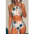 Trajes de baño del árbol de coco Bikini de rayas de cintura alta traje de baño Bikini de impresión