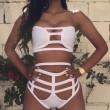 Conjunto de bikinis de halter blanco Conjunto de baño de playa de alta cintura traje de baño
