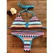 Conjunto estampado de Geometría de tanga sexy Push Up traje de baño de playa traje de baño