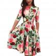 Vestido de verano de manga corta con estampado de hojas rojas y flor de ocio