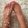 Moda hecha a mano exquisita perla tobillera con cuentas