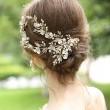 Única horquilla nupcial flor rama hojas cristal perla boda pelo banda accesorios para el cabello
