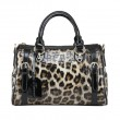 Vendimia Lujoso Leopardo Impresión Cuero Bolso