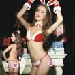 Sexy Conjunto de sujetador de uniforme de niña conejito de lazo rojo de Navidad Lencería íntima