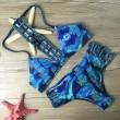 Conjunto de Bikini estampado pluma traje de baño rejilla traje de baño traje de baño
