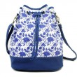 Original Moda Lienzo Azul Blanco Bolsa de viaje Bolsa de canasta Mochila