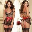 Cosplay atractivo de las mujeres Vea a través del cordón que empalma el bowknot de seda Negro que empalma el vestido sin respaldo rojo Ropa interior Ropa de noche Lencería