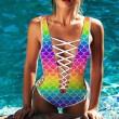 Bikini de sirena sexy profundo V Nuevo traje de baño siamés de impresión arco iris