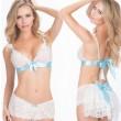Sexy tentación uniforme ahuecada ver a través de Backless Sexy Lady's blanco con escote en V empalme de cordón traje de cinta lencería