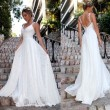 Elegante vestido de dama de honor sin mangas de encaje Vestido largo blanco Vestido de novia con cuello en V