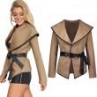 Chaqueta abierta de lana sexy con cinturón y abrigo de mujer