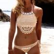 Bikini de concha sexy de dos piezas sin respaldo de verano de traje de baño de las mujeres