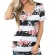 Camiseta de verano con estampado de flores y cuello en V casual para mujer