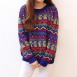Vintage Folk Style Geometry Zigzag Loose Sweater