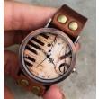 Reloj de cuero retro hecho a mano con música de piano