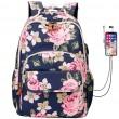 Fresco Flor Mochila para portátil USB de gran capacidad Mochila para estudiantes Bolso de escuela rosa