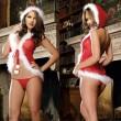 Sexy de felpa de una pieza sombrero rojo Navidad mujeres lencería