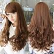 Side Bang / Full Bang largo ondulado pelucas sintéticas del pelo