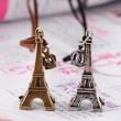 Collar largo vintage de cuero con corona de la Torre Eiffel