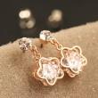 Brillante Original ciruela Flor Diamante Colgante Aretes