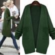 Abrigo de punto de lana suelta verde fresco
