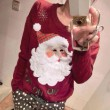 Suéter de navidad con bordado de Santa de los copos de nieve