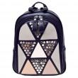 Escuela de la muchacha de la moda de la PU que empalma triángulos lentejuelas mochila Ocio remache mochila