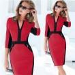 Vestidos rojos de manga media con cremallera Bodycon