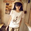 Camiseta de lino de manga corta con cuello redondo y mangas largas de jirafa Lovely Fresh