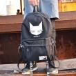 Ocio Negro Bolsa de estudiantes Gato Cabeza de los hombres Mochila de viaje