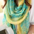 Bufanda del mantón de la flor bufanda doble de la protección solar de la toalla de playa de la playa