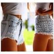 Pantalones cortos de mezclilla con rotos de cintura alta y pantalones vaqueros de verano