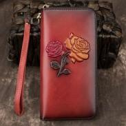 Cartera larga de flores de cuero retro Monedero de cuero de vaca Bolso de embrague de rosa en relieve amarillo rojo