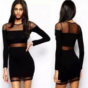 Vestido de gasa negro de la perspectiva de costura de la perspectiva