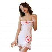 Disfraz de enfermera con volantes sexy Cosplay Babydoll sin espalda Liguero camisón Lencería de mujer