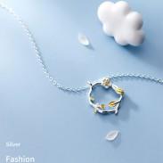 Único flor rama hojas anillo colgante hecho a mano joyería original collar de plata