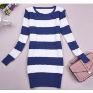Suéter de punto largo con tira de colores frescos de moda
